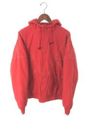 Zig Zag Stitch Puffy Jacket/S/ナイロン/RED/汚れ有り