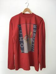 ×TOMMY HILFIGER/エンブレムプリントL/Sカットソー/XS/RED/MSS18TR45