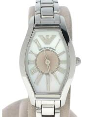 エンポリオアルマーニ/クォーツ腕時計/アナログ/ステンレス/WHT/SLV/AR-5653