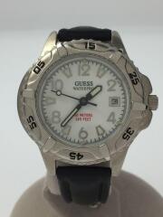 GUESS/ゲス/WATERPRO/クォーツ腕時計/アナログ/レザー/WHT/BLK