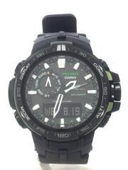 ソーラー腕時計・PROTREK/デジアナ/ラバー/BLK