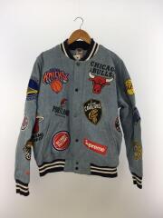 シュプリーム/スタジャン/M/インディゴ/×NBA/19SS/Warm-Up Jacket/ロゴ刺繍