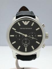 エンポリオアルマーニ/クォーツ腕時計/アナログ/レザー/BLK/BLK/ベルト劣化/くもり有