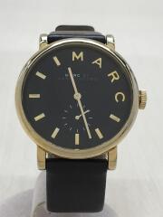 マークバイマークジェイコブス/クォーツ腕時計/アナログ/レザー/BLK/BLK