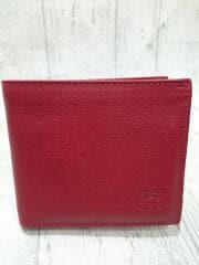 IL BISONTE イルビゾンテ/2つ折り財布/レザー/RED/無地