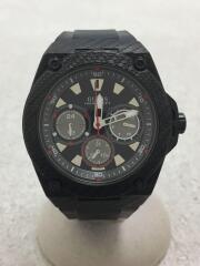 クォーツ腕時計/アナログ/ラバー/BLK/BLK/W1048G2