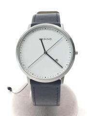 ベーリング/クォーツ腕時計/アナログ/レザー/WHT/BLK