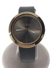 フルラ/クォーツ腕時計/アナログ/レザー/GRY/BLK