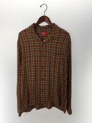 19SS/Plaid Rayon Shirt/L/レーヨン/ブラウン/チェック