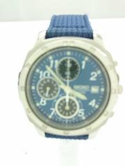 セイコー/クロノグラフ/クウォーツ腕時計/7T92-0CA0/青文字盤/キャンバスベルト