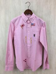 Embroidery ox ford bd shirt/長袖シャツ/M/コットン/PNK