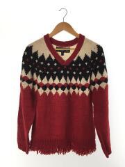 セーター(厚手)/M/アルパカ/RED/artesania/v neck fring wool knit//Vネック  ジャガード ノルディック