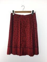 ドットボタンスカート/プリーツスカート/40/ポリエステル/RED/ドット/14A67036