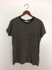 ボーダーポケTシャツ/XS/コットン/ブラック/ボーダー