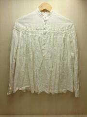 リネン高密度タックシャツ/ギャザーブラウス/36/リネン/WHT/シャーリング