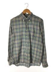 フェードツイルチェックシャツ/長袖シャツ/M/ポリエステル/ブルー