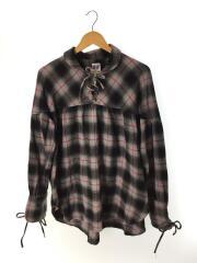 プルオーバーチェックシャツ/長袖シャツ/M/ギャザー/コードシャツ/コットン/グレー/チェック