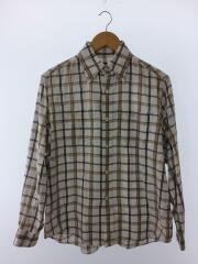 チェックシャツ長袖シャツ/M/コットン/ブラウン