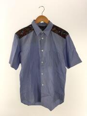 切替シャツ/半袖シャツ/M/DA-B056/コットン/BLU/ストライプ