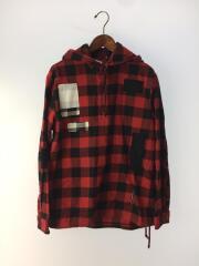 フード付きパッチワークチェックネルシャツ/長袖シャツ/1/コットン/RED/チェック