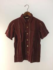 開襟シャツ/オープンカラーシャツ/半袖シャツ/S/レーヨン/ボルドー