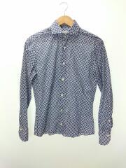丸襟長袖シャツ/XS/コットン/BLU/総柄/幾何学/ワイシャツ