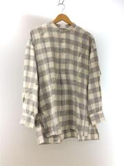 18AW フランネルバンドカラーシャツ/ネルシャツ/36/コットン/ホワイト/チェック