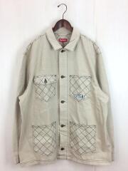 18AW diamond stitch denim chore coat/カバーオール/XL/コットン/ベージュ/デニムジャケット