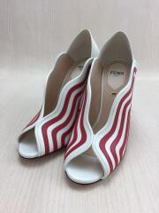 Wave foldable heel/パンプス/36.5/ホワイト×レッド/レザー/1072192