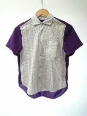 11SS Panel Changed S/S Shirt/ブラウス/M/ポリエステル/パープル/TG-B017