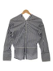 typewriter stripe bias shirt blouse/シャツ/36/コットン/ブルー/ストライプ