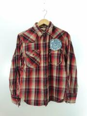×RED WOOD/ウエスタンチェックネルシャツ/M/コットン/レッド/リメイク
