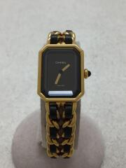 PREMIEREプルミエール/PLAQUE OR G 20 M/クォーツ腕時計/アナログ/黒×ゴールド