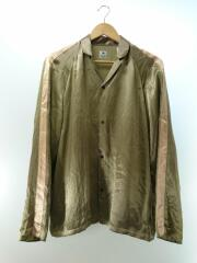 18SS NOTCHED COLLAR SATIN SHIRT/長袖シャツ/L/カーキ