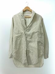 KIRO HIRATA/リネン混変形ショールカラーシャツ/2/コットン/ホワイト/ストライプ