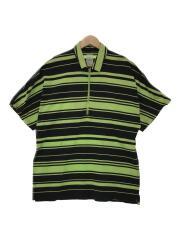 RANDOM MARINE-STRIPED ZIP POLO SH/ポロシャツ/O/グリーン/ボーダー