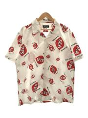 WDS rhombus-pattern Open coller shirt/XL/ポリエステル/ホワイト/総柄
