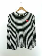 RED HEART CREW NECK TEE/AD2019/長袖Tシャツ/M/コットン/ホワイト/ボーダー