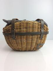 トートバッグ/--/キャメル/カゴバッグ/ブライドルレザー/紅籐/編み込み