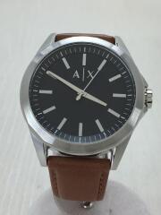 クォーツ腕時計/アナログ/レザー/SLV/CML