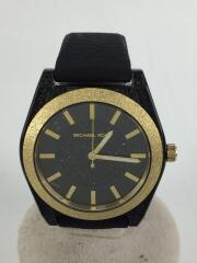 クォーツ腕時計/アナログ/ラバー/BLK/GLD