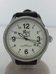 クォーツ腕時計/アナログ/レザー/WHT/BRW/H0225