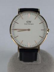 クォーツ腕時計/アナログ/レザー/WHT/b36r11/タイムピース