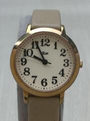 クォーツ腕時計/アナログ/レザー/クリーム/RIKI/1N01-K870