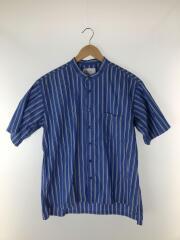 半袖シャツ/XL/コットン/ブルー/ストライプ/51-01-0178-012/バンドカラ―