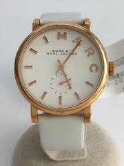 クォーツ腕時計/アナログ/フェイクレザー/WHT