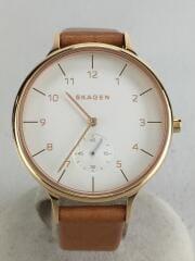 クォーツ腕時計/アナログ/レザー/WHT/ANITA/SKW2405