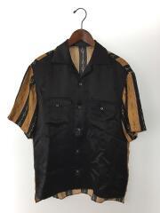 グッチ/19SS/バイマテリアルプリントボーリングシャツ/半袖シャツ/572516/46/シルク/BLK