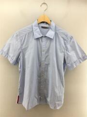 半袖シャツ/L/コットン/BLU/薄手/オーバーサイズ/襟付き/折り返し/セカスト