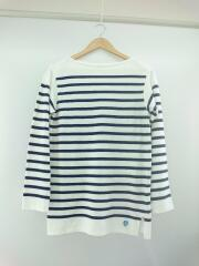 バスクシャツ/長袖Tシャツ/2/コットン/ホワイト/ネイビー/ボーダー/サイドスリット/ボートネック